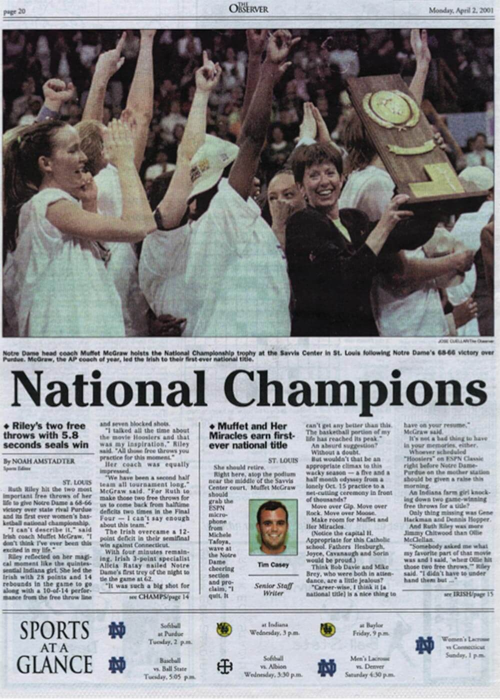 Women's Basketball wins championship - 2001